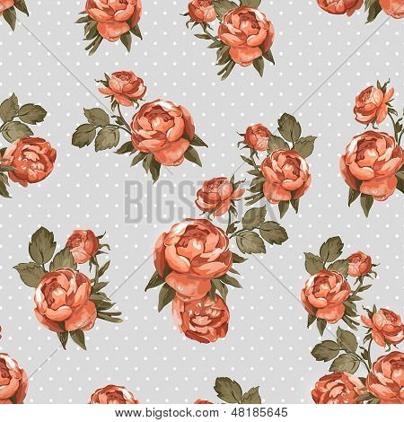 Elegant Seamless pattern with red flowers. Color peony pattern, vector illustration