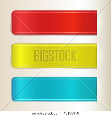 Color paper stripes inserted in paper cut vector illustration.