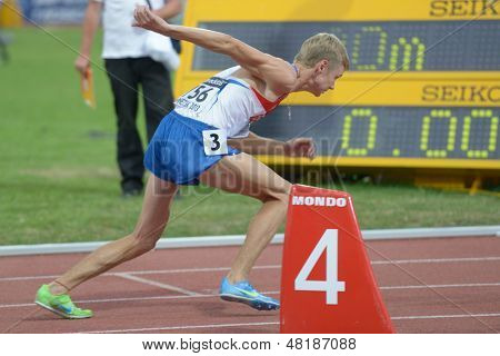 DONETSK, UKRAINE - JULY 13: Konstantin Tolokonnikov of Russia compete in the final of 800 meters during 8th IAAF World Youth Championships in Donetsk, Ukraine on July 13, 2013