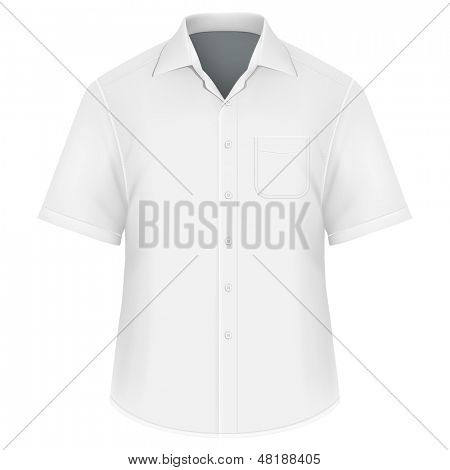Photo-realistic vector illustration. Men's button down shirt design template (front view). Illustration contains gradient mesh.