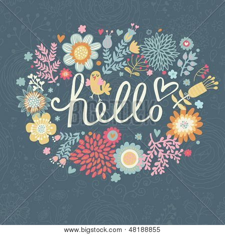 Bright summer card on floral seamless background. Floral design for ideal wedding invitations in vector. Romantic card made of flowers in bright colors