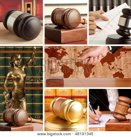 Conjunto de mazo de madera y de la ley 4