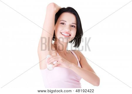 Beautiful young woman using antiperspirant , isolated