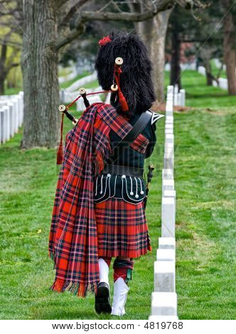 Bagpiper At Arlington National Cemetery