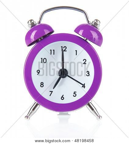 Purple alarm clock isolated on white