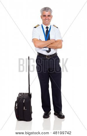 smiling middle aged airline pilot with arms crossed isolated on white