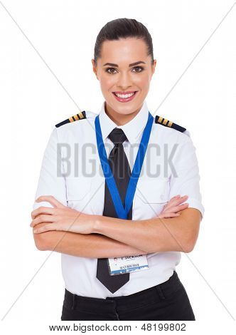beautiful woman airline pilot with arms crossed