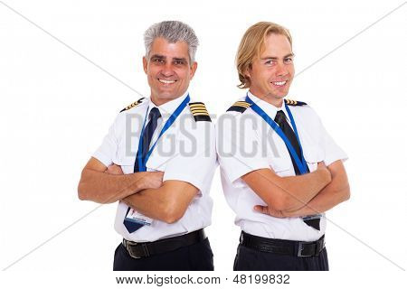 two airline pilots wearing uniform portrait on white background