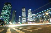 Shanghai Modern Landmark Buildings Background Car Night Light Trails poster