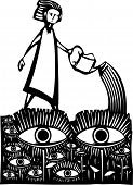 image of voyeur  - Woodcut style image of a girl watering a garden of watching eyes - JPG