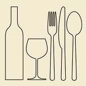 stock photo of spooning  - Bottle wineglass fork knife and spoon  - JPG