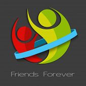 stock photo of  friends forever  - Friends forever concept with illustration of happy friends in friendship band - JPG