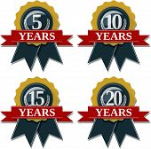stock photo of solids  - seal and ribbon collection commemorating 5 10 15 20 years - JPG