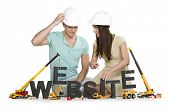 Website under construction concept: Inquiring man and woman building the word website along with con
