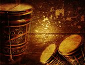 foto of bongo  - Grunge music background with ornaments turkish bongo - JPG