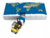stock photo of forklift  - Concept of global transportation modern yellow forklift carrying piece of global map isolated on white background - JPG
