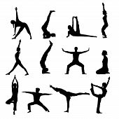 foto of yoga silhouette  - illustration of some yoga silhouettes on white background - JPG