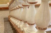 stock photo of balustrade  - Image of white and gold balustrade pattern - JPG