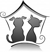 stock photo of grayscale  - Illustration of Cat and Dog Shelter Silhouette in Black and White - JPG