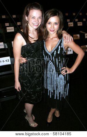 Joy Lauren and Olesya Rulin at day one of the 2007 Mercedes Benz Fashion Week. Smashbox Studios, Culver City, CA. 10-14-07