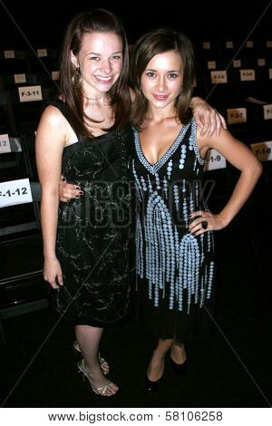 Joy Lauren and Olesya Rulin at day one of the 2007 Mercedes Benz Fashion Week. Smashbox Studios, Culver City, CA. 10-14-07