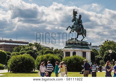 Horse And Rider Statue Of Archduke Karl In Vienna At The Heldenplatz