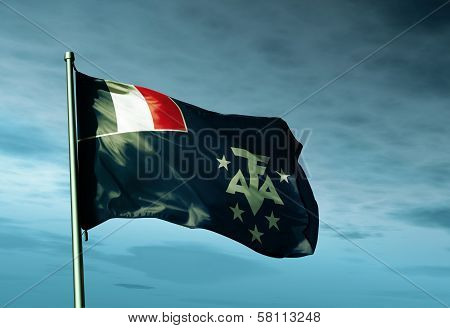 Adelie Land (FRANCE) flag waving in the evening