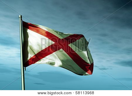 Alabama (USA) flag waving in the evening