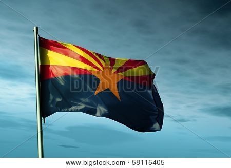 Arizona (USA) flag waving in the evening