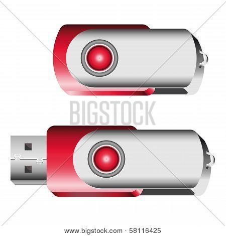 Set Of Opened And Closed Red Usb Memory Sticks