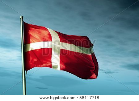 Denmark flag waving in the evening