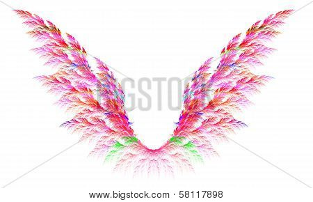 Pair Of Colorful Pink Angel Wings. Fractal Graphics