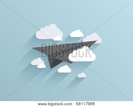 Vector flat origami airplane icon background.