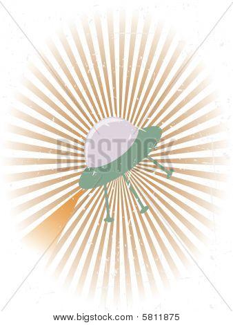 Retro Flying UFO Grunge Background