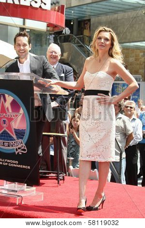 Paul Rudd and Michelle Pfeiffer at the ceremony honoring Michelle Pfeiffer with the 2,345th star on the Hollywood Walk of Fame. Hollywood Boulevard, Hollywood, CA. 08-06-07