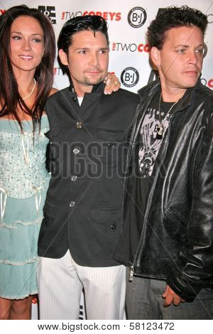 Susie Sprague with Corey Feldman and Corey Haim at the A and E Premiere of