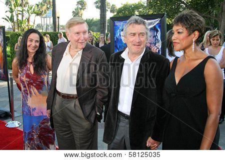 Sumner Redstone and wife Paula with Robert De Niro and Grace Hightower at the Los Angeles Premiere of