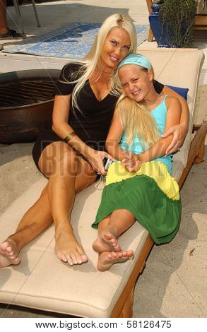 Genevieve Chappell and daughter at the Hot Moms Video Shoot for