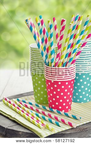 Paper Cups And Striped Straws