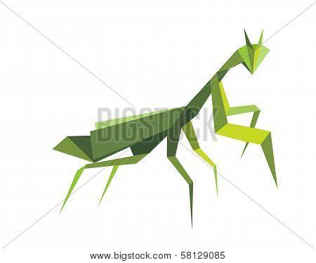 Origami green praying mantis