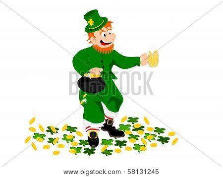 leprechaun beer coin clover