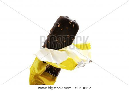 Ice Cream Bar Isolated Over White.