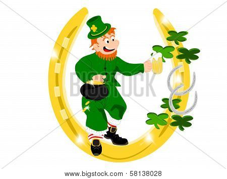 leprechaun beer gold horseshoe