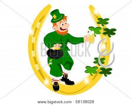 leprechaun beer gold horseshoe