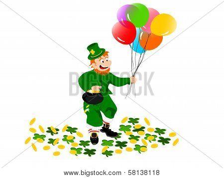 leprechaun balloons coins clover