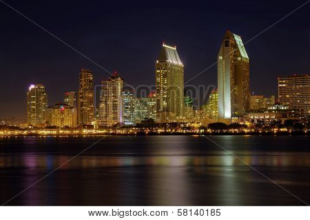 San Diego Skyline From The Water At Night