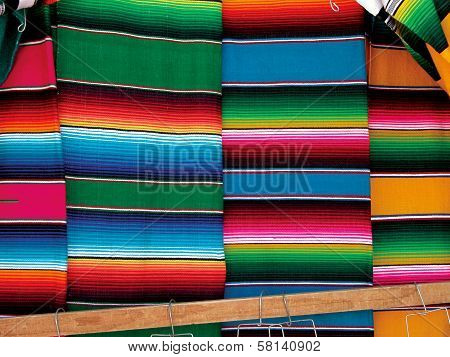 Mexican traditional market wool sarapes