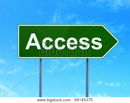 Protection concept: Access on road sign background