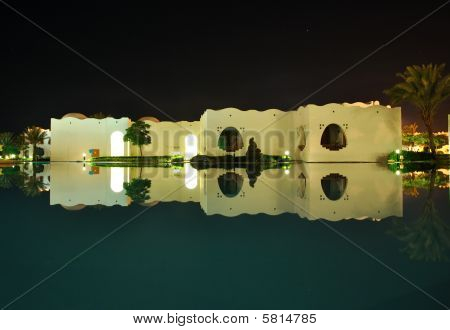 Oriental Style Buildings Night Reflection In Pool