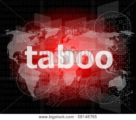 Security Concept: Words Taboo Is A Marketing On Digital Screen